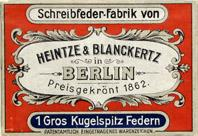 Antike Schachtel mit Kalligraphie Pfannenfedern, Heintze & Blanckertz, No. 1131 EF