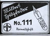 Antike Schreibfederschachtel, Hermann Müller, No. 111 EF, Müllers Spitzfeder, Normalschrift