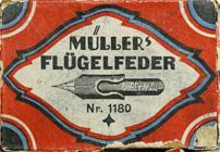 Antike Schreibfederschachtel, Hermann Müller, No. 1180 EF, Flügelfeder, Typ 1
