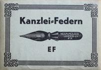 Antike Schreibfederschachtel, Hermann Müller, No. 1411 EF, Kanzlei-Feder