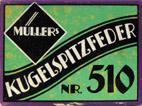 Antike Schreibfederschachtel, Leipziger Stahlwarenfabrik, Hermann Müller, Kugelspitzfeder No. 510 EF