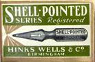 Antike Schreibfederschachtel, Hinks, Wells & Co, Pfannenfeder No. 2290 Shell pointed