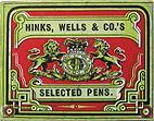 Antike Schreibfederschachtel, Hinks, Wells & Co, No. 2411-1 F