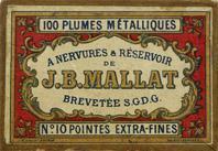 Antike Schachtel mit Kalligraphie-Spitzfedern, J. B. Mallat, No. 10 EF, Brevetée S.G.D.G en 1852