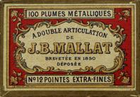 Schachtel mit Kalligraphie-Spitzfedern, J. B. Mallat, Brevetee en 1850, No. 12 EF