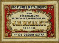 Antike Schachtel mit Zeichenfedern, J. B. Mallat, No. 132, Dessin Extra