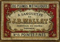 Antike Schreibfederschachtel, J. B. Mallat, No. 15 F, A Languette