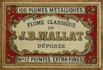 Antike Schachtel mit Kalligraphie Spitzfedern, J. B. Mallat, No. 17 EF, Plume Classique