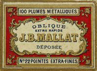 Antike Schachtel mit Kalligraphie Spitzfedern, Ellenbogenfeder, J. B. Mallat, No 22 EF, Oblique extra rapide