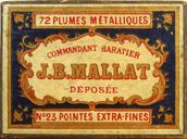 Antike Schachtel mit Kalligraphie Pfannenfedern, B. Mallat, Commandant Baratier No. 23 EF
