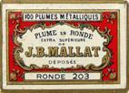 Antike Schreibfeder-Schachtel, J. B. Mallat, Plume en Ronde, Extra Superieure