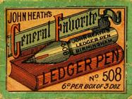 Antike Schreibfederschachtel, John Heath, No. 508, Ledger Pen