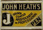 "Antike Schreibfederschachtel, John Heath, ""J"", Golden coated Aristocratic or Professional Pen"