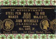 Antike Schreibfederschachtel, John Mitchell, No. 687 F, Classical Pen