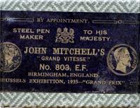 Antike Schreibfederschachtel, John Mitchell, No. 803 EF, Grande Vitesse