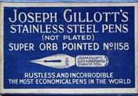 Antike Schreibfederschachtel, Joseph Gillott, No. 1158, Super Orb Pointed