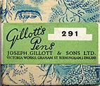 Antike Schachtel mit Zeichenfedern, Joseph Gillott No. 291, Mapping Pen