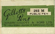 Antike Schreibfederschachtel, Joseph Gillott & Sons Ltd., No. 293 M, Public Pen