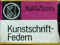 Schachtel mit Schnurzugfedern, Berliner Schreibfederfabrik (VEB), Kul, 0,75mm