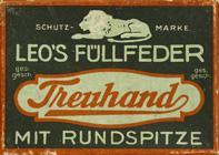 Antike Schreibfederschachtel, E. W. Leo, No. 483 F, Treuhand mit Rundspitze
