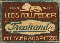 Antike Schreibfederschachtel, E. W. Leo Nachfolger, No. 485-3, Treuhand mit Schrägspitze