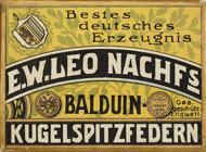 Antike Schreibfederschachtel, E. W. Leo Nachfolger, No. 510 EF, Balduin