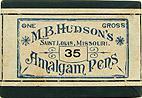 Antike Schreibfederschachtel, M. B. Hudson, No. 35, Amalgam Pen