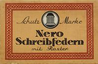 Antike Schachtel mit Kalligraphie Spitzfedern, Nero, No. 1112 EF, DRP