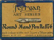 Antike Schreibfederschachtel, Perry & Co, No. 1174, Round Hand Pen