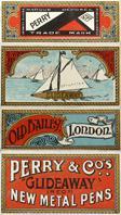 Antike Schreibfederschachtel, Perry & Co, No. 401, Glide away