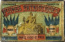 Antike Schreibfederschachtel, Compagnie Francaise, Plume Patriotique