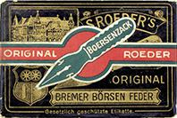 Antike Schreibfederschachtel, S. Roeder, Börsenzack EF und F