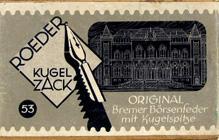 Antike Schachtel mit Kalligraphie Schreibfedern, S. Roeder, No. 53, Kugelzack
