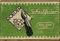 Antike Schreibfederschachtel, Röder, Zick-Zack Fein, Schulfeder
