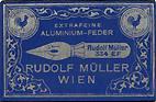 Antike Schreibfederschachtel, Rudolf Müller, No. 334 EF, Aluminium-Feder