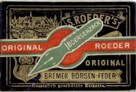 Antike Schreibfederschachtel, S. Roeder, Börsenzack EF und F, Das Original aller Bremer Börsenfedern