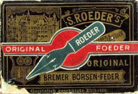Antike Schreibfederschachtel, S. Roeder, S. Röder's Bremer Börsenfeder, EF und F