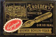 Schreibfeder-Schachtel, S. Röder, Bremer Boersenfeder