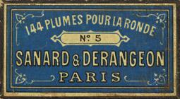 Antike Schreibfederschachtel, Sanard & Derangeon, No. 5, Pour la Ronde