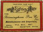 Antike Schreibfederschachtel, The Birmingham Pen Co, No. 206, Silver Alloy