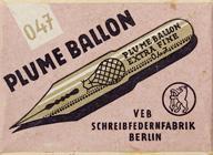Antike Schreibfederschachtel, Berliner Schreibfederfabrik (VEB), No. 047, Plume Ballon