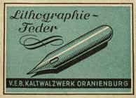 Antike Schreibfederschachtel, Berliner Schreibfeder-Fabrik (VEB Oranienburg), No. 0190, Lithographie-Feder