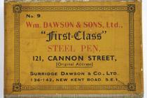 Antike Schreibfederschachtel, William Dawson & Sons, Ltd., No. 9, First Class Pen