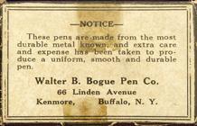 Antike Schreibfederschachtel, Walter B. Bogue Pen Co., No. 11, Bank Pen, Rückseite