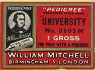 Antike Schreibfederschachtel, William Mitchell, No. 0605 M, University