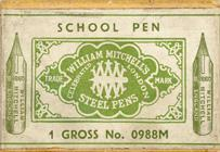 Antike Kalligraphie Schreibfederschachtel, William Mitchell, No. 0988 M, School Pen