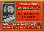 Antike Schachtel mit Kalligraphie-Schreibfedern, William Mitchell, Pedigree Round Hand Pen