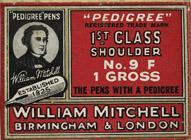 Antike Schreibfederschachtel, William Mitchell, No. 9, 1st Class Shoulder Pen