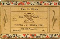 Antike Schreibfederschachtel, Tuxedo, No. 17, Aluminium Pen, Stationer Wm. George Hintz