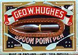Antike Schachtel mit Kalligraphie Pfannenfedern, Geo W. Hughes, No. 757 EF, spoon point pen